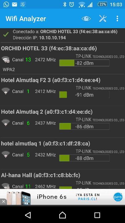 aplicación WiFi Analyzer