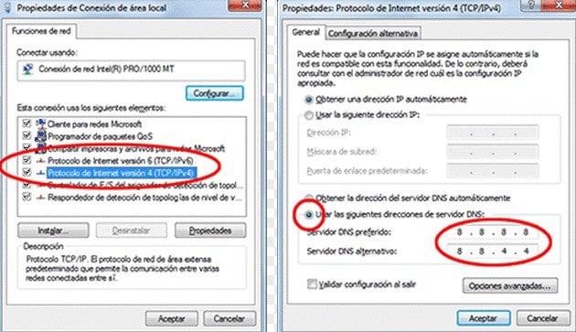 cambiar servidores DNS