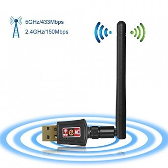 Zoweetek® Adaptador USB inalámbrico Dual Band